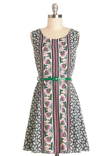 Fresh from the Market Dress - Print, Belted, Casual, Sleeveless, Summer, Good, Scoop, Woven, Mid-length, Multi, A-line