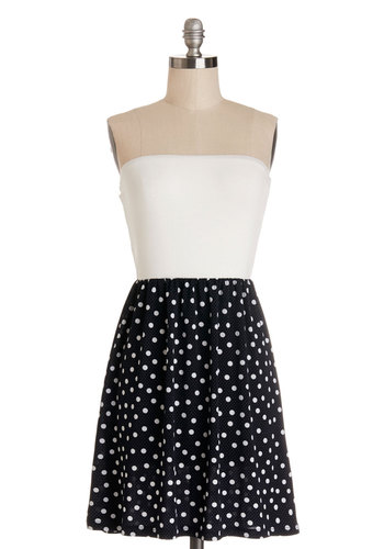The Real Zeal Dress - Blue, White, Polka Dots, Bows, Cutout, Casual, A-line, Strapless, Good, Knit, Woven, Short, Twofer