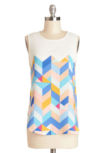 Tessellate in the Day Top in Serene - Woven, Mid-length, Multi, Yellow, Blue, White, Print, Sleeveless, Multi, Sleeveless, Spring, Summer