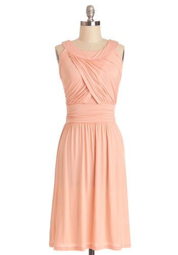 So Happy to Gather Dress in Peach - Coral, Solid, Ruching, Casual, A-line, Sleeveless, Good, Long, Knit, Variation