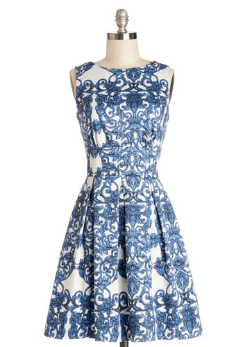Ain't We Haute Fun? Dress in Paisley by Closet London - Blue, Print, Cutout, Exposed zipper, Daytime Party, Fit & Flare, Sleeveless, Better, Variation, Pleats, Woven, White, Paisley, Pockets, Party, Mid-length