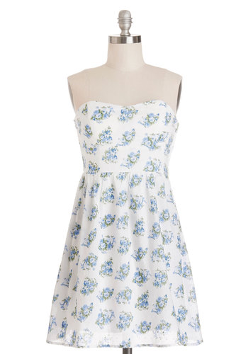 Blossom in the Crowd Dress - Blue, Floral, Casual, Graduation, Sundress, A-line, Strapless, Summer, Woven, Good, Cotton, Cutout, Sweetheart, White