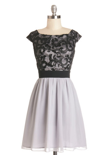 A Song at Moonlight Dress - Black, Grey, Sequins, Special Occasion, Prom, A-line, Cap Sleeves, Woven, Better, Mid-length, Party, Homecoming, Twofer
