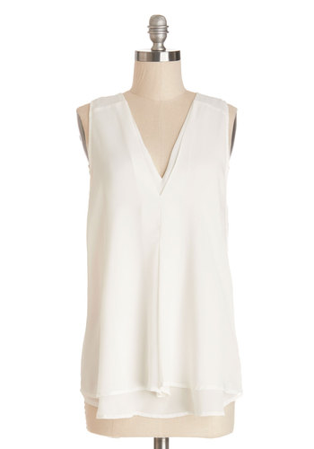 Ambient Ambition Top - Long, White, Solid, Work, Sleeveless, Spring, Summer, V Neck, White, Sleeveless, Tiered, Woven