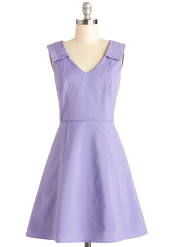 Bouquet of Violets Dress - Woven, Mid-length, Purple, Solid, Bows, Daytime Party, A-line, Sleeveless, Better, V Neck