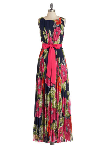 Perennial Pose Dress - Multi, Floral, Pleats, Belted, Special Occasion, Party, Maxi, Sleeveless, Summer, Best, Long, Chiffon, Woven