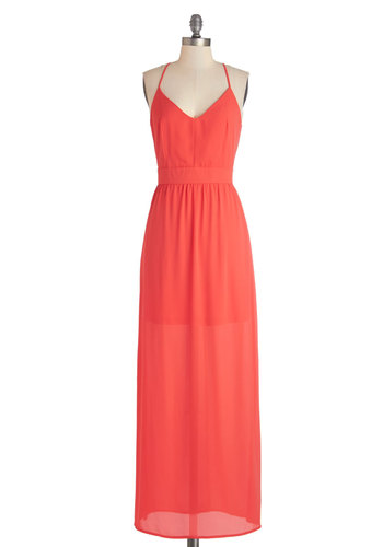 Horizon and Shine Dress in Orange - Long, Chiffon, Woven, Orange, Solid, Backless, Casual, Beach/Resort, Maxi, Spaghetti Straps, Variation, Summer