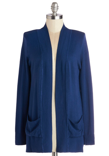 Coffee Date Night Cardigan in Navy - Knit, Mid-length, Blue, Solid, Pockets, Work, Casual, Long Sleeve, Blue, Long Sleeve, Variation, Maternity, Fall