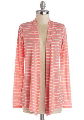 Island Breeze Cardigan - Good, Orange, Long Sleeve, Knit, White, Stripes, Casual, Long Sleeve, Coral, Maternity