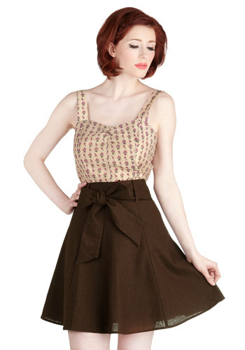 Musee Matisse Skirt in Cocoa - Brown, Solid, Casual, A-line, Belted, Best Seller, Daytime Party, Work, Variation, Basic, Good, Brown, Gals, 50s, High Waist, Fall, Winter, Top Rated, Mid-length