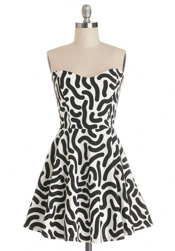 Kicks and Squiggles Dress by Lazy Oaf - Print, Casual, A-line, Strapless, Better, Sweetheart, Black, White, Summer, Woven, International Designer, 90s, Girls Night Out, Short