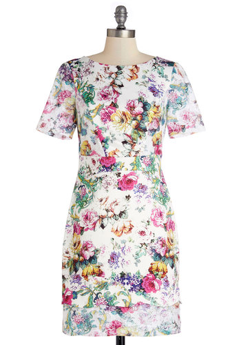 Botanical Promenade Dress - Woven, Mid-length, Floral, Lace, Special Occasion, Shift, Short Sleeves, Better, Crew, Multi, White, Wedding, Daytime Party, Graduation, Press Placement