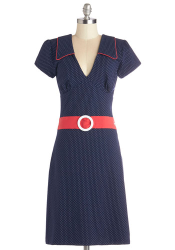 Cute Quick Change Dress in Navy - Blue, Red, Polka Dots, Trim, Belted, Casual, Shift, Short Sleeves, Better, International Designer, V Neck, Summer, Woven, Nautical, Vintage Inspired, 40s, 50s, Long