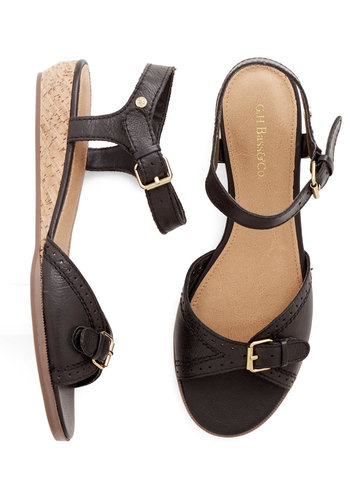 Glad to Be Buckle Sandal in Black by Bass - Low, Leather, Black, Solid, Better, Wedge, Variation, Summer
