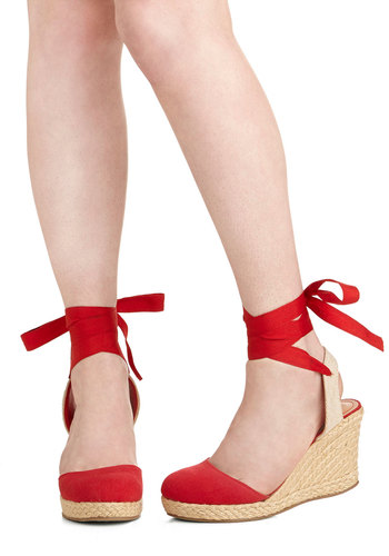 Summer Ease Wedge in Red - Mid, Woven, Red, Tan / Cream, Solid, Braided, Daytime Party, Beach/Resort, Wedge, Espadrille, Variation