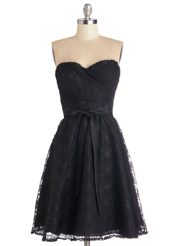 Dancing Upon Air Dress in Black - Short, Lace, Black, Solid, Lace, Belted, Special Occasion, Prom, Wedding, Party, Bridesmaid, A-line, Woven, Cocktail, Vintage Inspired, 50s, LBD, Sweetheart, Homecoming