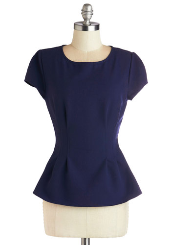 Here and Eclair Top - Woven, Mid-length, Blue, Solid, Work, Peplum, Good, Blue, Short Sleeve, Cap Sleeves