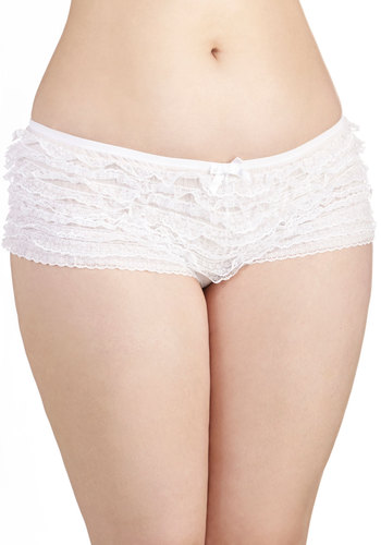 All to Enchant Undies in White - Plus Size - Knit, Lace, White, Solid, Ruffles, Wedding, Bride, Boudoir, Variation