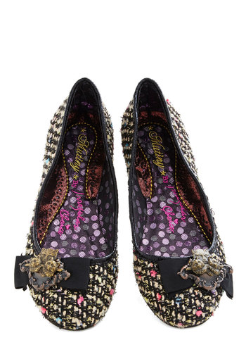 Tapestry of Purr-fection Flat by Irregular Choice - Multi, Bows, Flat, Print, International Designer, Woven, Black, Woven, Work, Fall