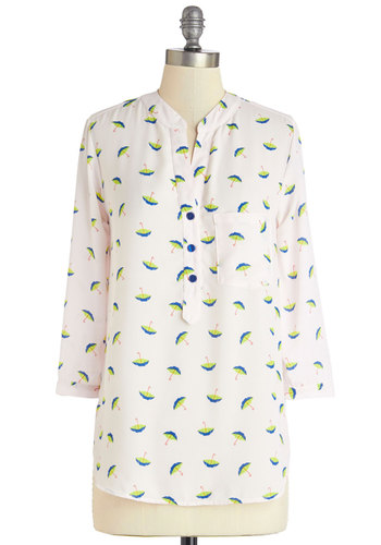 Parasol Along Top - Woven, Mid-length, White, Green, Blue, Novelty Print, Buttons, Pockets, Work, Casual, Quirky, 3/4 Sleeve, Spring, White, 3/4 Sleeve