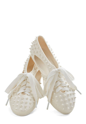 Spike Your Interest Flat - Flat, White, Solid, Cutout, Studs, Casual, Urban, Quirky, Lace Up