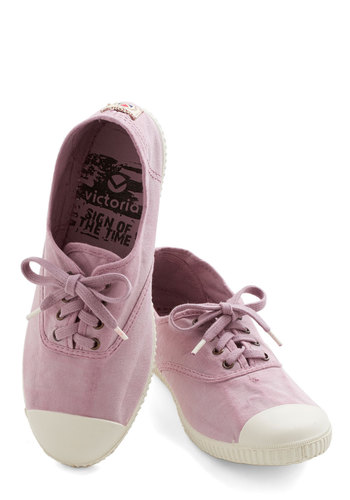 Sure Steps Flat in Rose - Flat, Woven, Pink, Solid, Casual, Lace Up, Variation, Summer