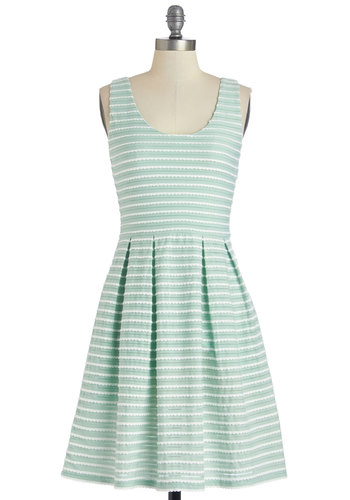 Sweetly Scalloped Dress in Mint - Mint, White, Stripes, Pleats, Scallops, Casual, Sundress, A-line, Sleeveless, Good, Scoop, Woven, Mid-length, Variation
