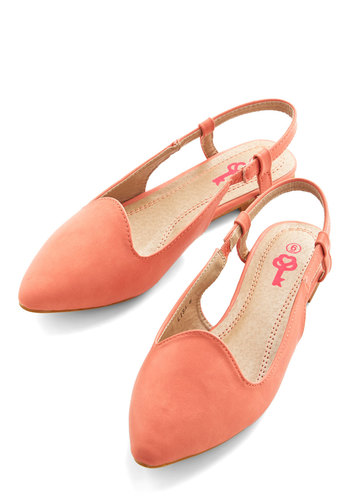 Simply Enchanting Flat - Flat, Faux Leather, Coral, Solid, Work, Daytime Party, Minimal, Good, Slingback