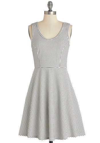 Checker Her Out! Dress - Black, White, Checkered / Gingham, Casual, A-line, Sleeveless, Good, Scoop, Knit, Mid-length