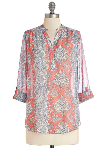 Calling from Casablanca Blouse - Woven, Mid-length, Coral, Blue, Print, Work, Beach/Resort, Boho, 3/4 Sleeve, Spring, Red, Tab Sleeve, Buttons, Chiffon, Sheer, Summer, Good