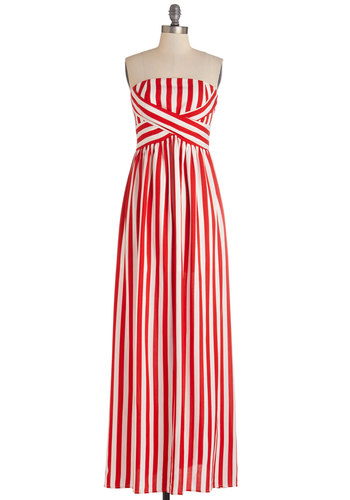 Whimsical Wanderings Dress - Red, White, Stripes, Casual, Beach/Resort, Nautical, Maxi, Strapless, Woven, Good, Long, Summer