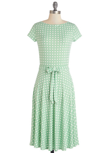 Octagon with the Wind Dress - White, Print, Belted, Casual, A-line, Cap Sleeves, Better, Knit, Green, Work, Pastel, WPI, Long