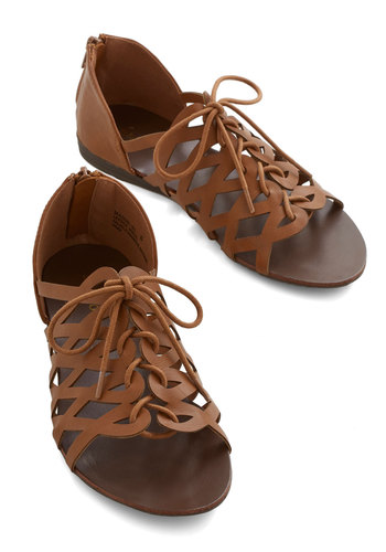 Always Looped In Sandal - Flat, Faux Leather, Brown, Solid, Cutout, Boho, Summer, Good, Lace Up