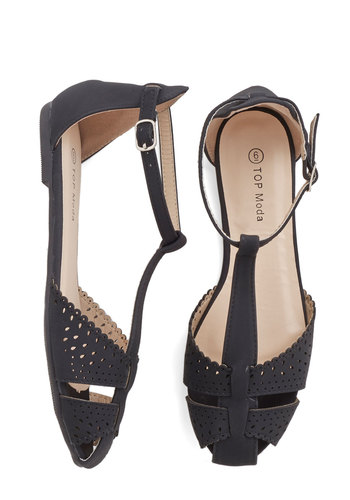 Sunset In Your Ways Flat in Black - Flat, Faux Leather, Black, Solid, Cutout, Casual, Spring, Summer, Good, Mary Jane, T-Strap, Variation