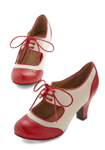 The Best of Times Heel in Red - Red, White, Solid, Party, Daytime Party, Vintage Inspired, 20s, Good, Lace Up, Variation, Exclusives, Social Placements, Mid, Valentine's, Nautical, Menswear Inspired