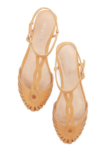 Braid Away the Day Flat by Chelsea Crew - Flat, Faux Leather, Tan, Solid, Beach/Resort, Boho, Summer, Better, T-Strap