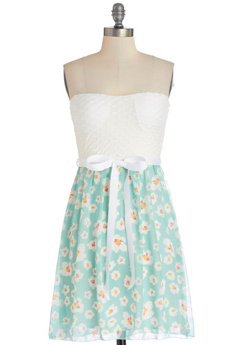 A Tisket, a Tasting Dress - White, Mint, Floral, Belted, Casual, A-line, Strapless, Summer, Good, Knit, Woven, Mid-length