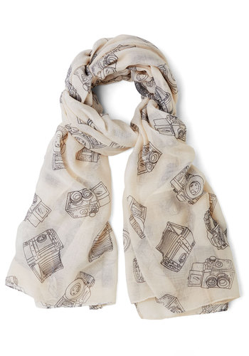 Lens Get Going Scarf - Cream, Black, Novelty Print, Casual, Good, Woven, Sheer, Top Rated