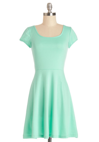 Awe-Inspiring Aqua Dress - Short, Knit, Mint, Solid, Casual, A-line, Better, Scoop, Black, Short Sleeves, WPI