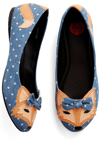 Clever So Sweet Flat in Denim - Flat, Woven, Blue, Multi, Polka Dots, Print with Animals, Bows, Casual, Quirky, Critters, Better, Variation, Best Seller, Woodland Creature