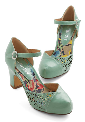 Vivacious Visit Heel in Mint by Chelsea Crew - Mid, Faux Leather, Mint, Solid, Cutout, Wedding, Party, Daytime Party, Vintage Inspired, 20s, Better, Chunky heel, Variation, 30s
