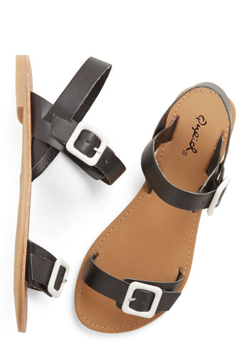 All Systems Go-Cart Sandal - Flat, Faux Leather, Black, Solid, Beach/Resort, Minimal, Summer, Good