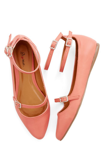 Just Feels Right Flat in Coral - Flat, Faux Leather, Solid, Casual, Strappy, Cutout, Work, Daytime Party, Ankle, Coral, Variation