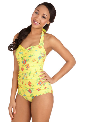 Bathing Beauty One-Piece Swimsuit in Needlepoint by Esther Williams - Yellow, Red, Orange, Green, Blue, Floral, Halter, Pinup, Summer, Rockabilly, Beach/Resort, Pastel, Contour
