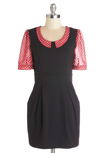 See You There Dress by Kling - Black, Red, Polka Dots, Pleats, Pockets, Short Sleeves, Better, Collared, Work, White, Shift, Short, Sheer, Knit, Solid
