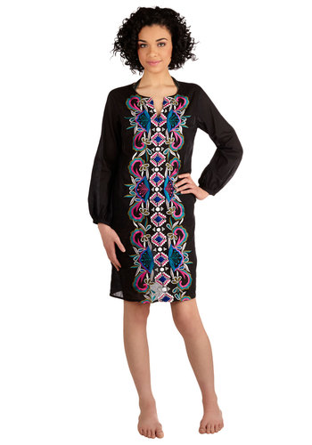 Dune Dazzle Cover-Up Dress - Cotton, Sheer, Woven, Black, Multi, Print, Embroidery, Beach/Resort, Boho, Cover-up, Long Sleeve, Summer, Exclusives