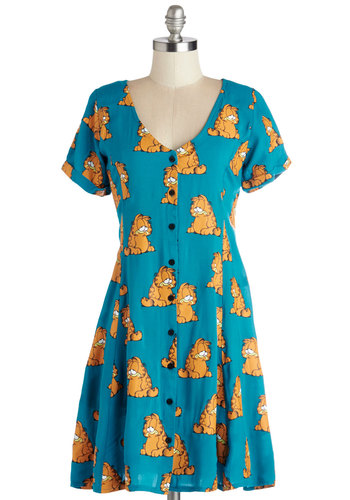 RTV CLOSED: I Ate Mondays Dress by Lazy Oaf - Blue, Orange, Novelty Print, Buttons, Casual, Cats, A-line, Short Sleeves, Better, V Neck, Summer, Woven, International Designer, Print with Animals, Vintage Inspired, 90s, Quirky