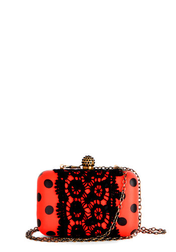Cute As A Bug Clutch by Darling - Black, Polka Dots, Lace, Party, International Designer, Good, Prom, Spring, Summer, Red, Faux Leather, Quirky