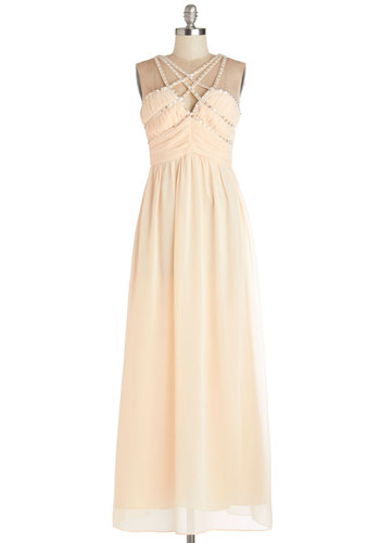 Beam a Little Dream Dress - Cream, Solid, Beads, Cutout, Special Occasion, Prom, Maxi, Better, Sleeveless, Summer, Woven, Long