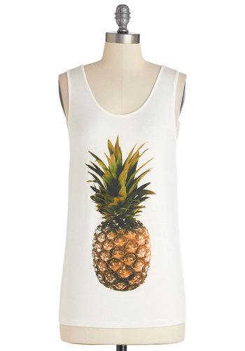 Tropical Taste Tank - White, Sleeveless, White, Novelty Print, Casual, Fruits, Tank top (2 thick straps), Spring, Summer, Mid-length, Jersey, Knit, Green, Brown